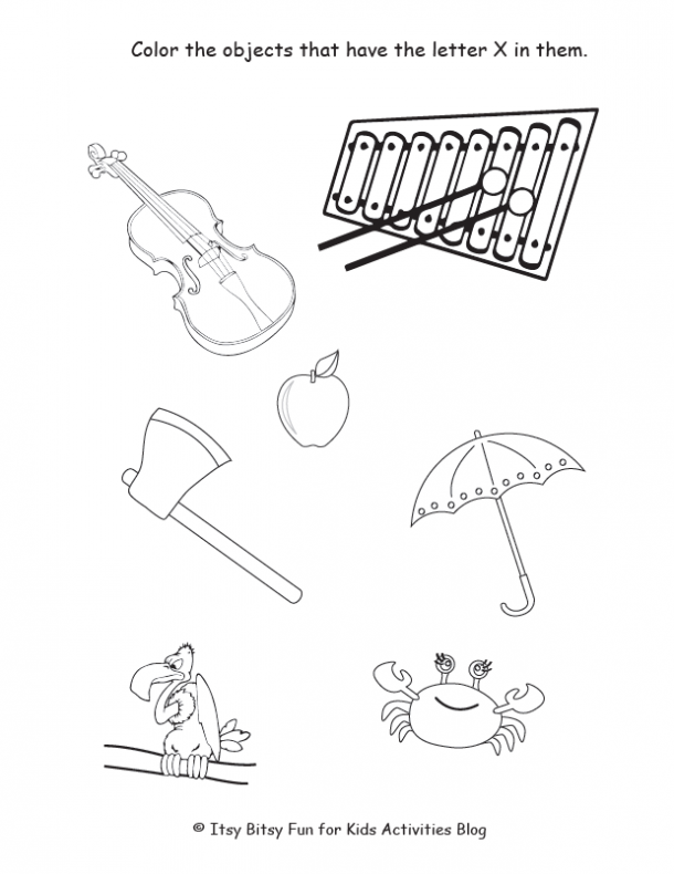 color the objects that have the letter x in them