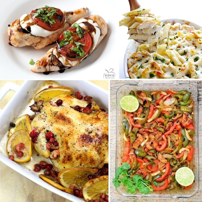 Easy and mouthwatering chicken recipes like caprese chicken, chicken alfredo, whole roasted chicken, and chicken fajitas.