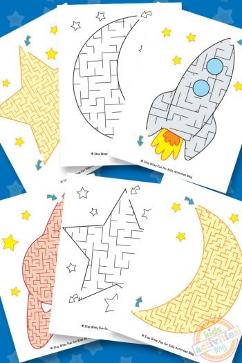 Fun Free Printable Space Mazes Worksheets For Kids