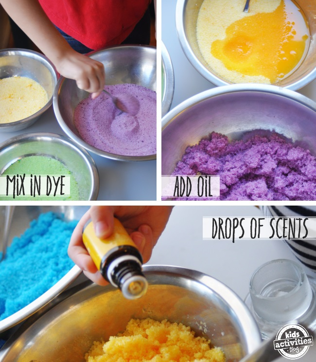 how to make Rainbow sugar scrub