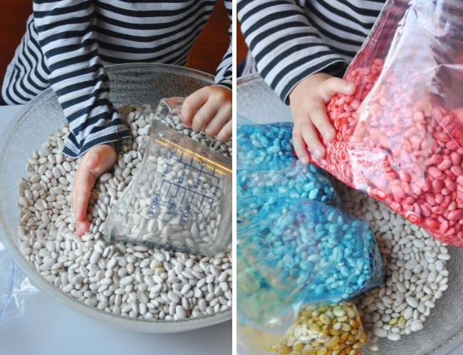 making rainbow scented beans