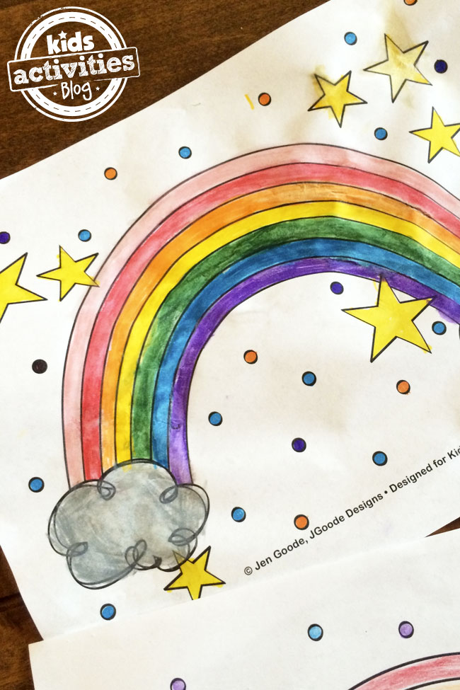 paint a rainbow coloring page