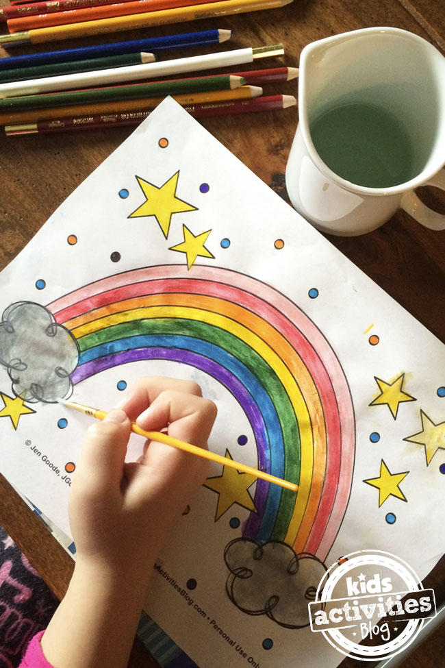 Rainbow coloring page designed by Jen Goode