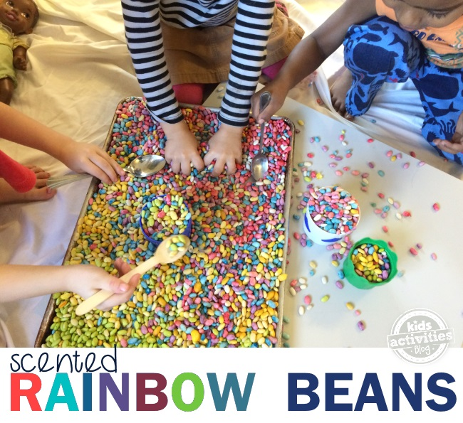 sensory play with rainbow scented beans