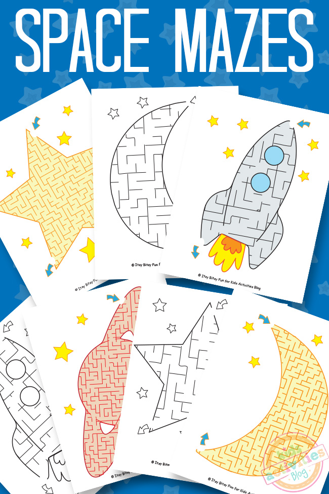Space Mazes - Shown are 7 easy free printable mazes for kids - preschoolers Kindergarten on a blue background with words space mazes