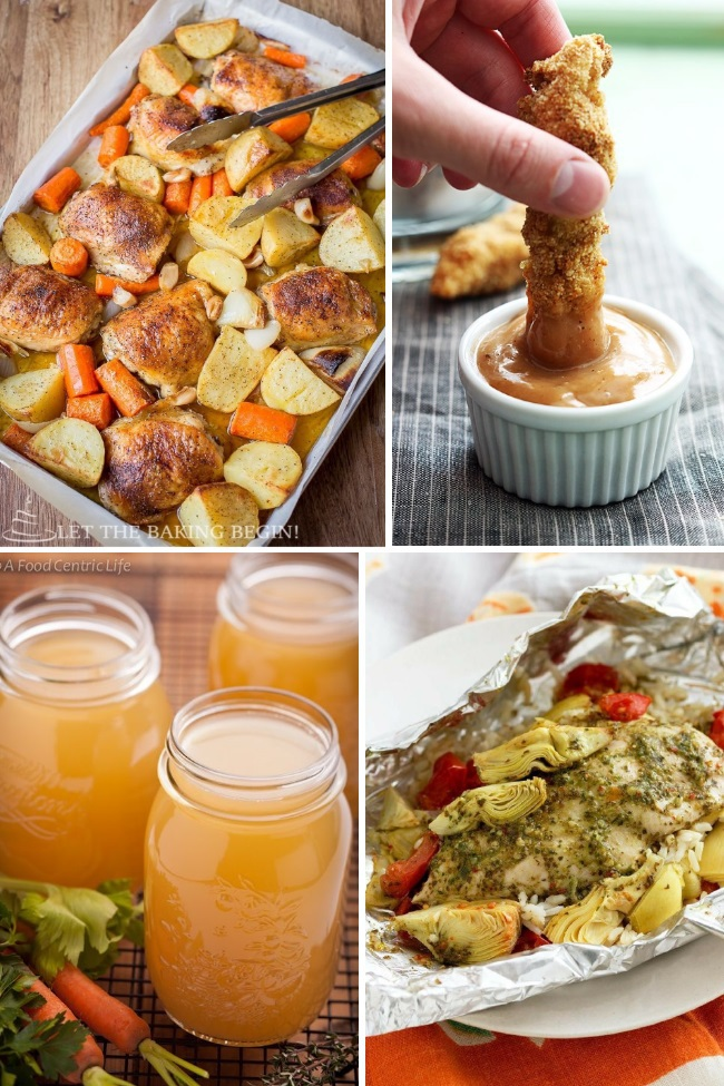 Delicious chicken recipes to make baked chicken with potatoes and carrots, chicken strips, and chicken stock.
