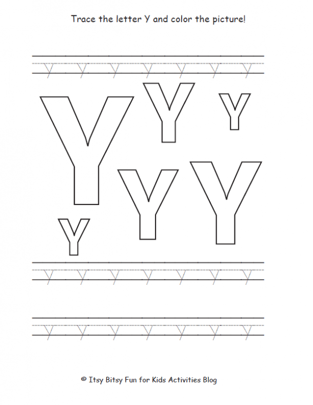 trace the lowercase letter y and color the picture
