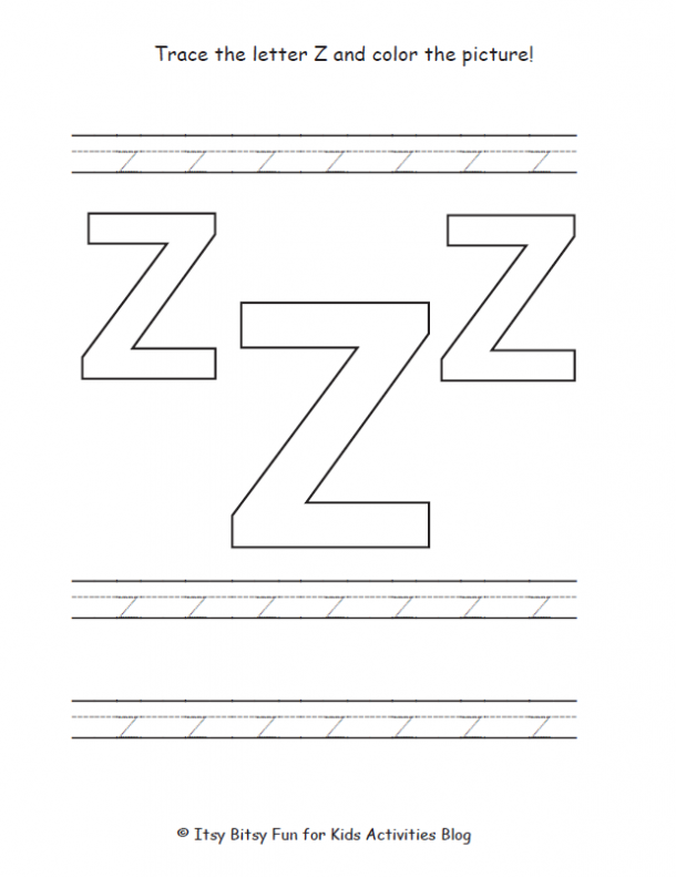 trace the lowercase letter z and color the picture