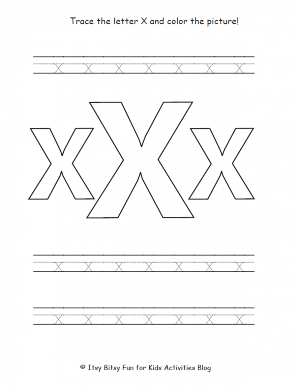 trace the lowercase x and color the picture