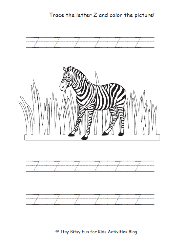 trace the uppercase letter z and color the picture