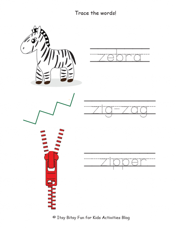 trace the words that start with z