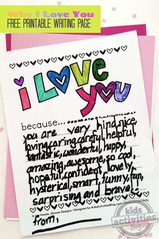 I love you because printable page for kids - Kids Activities Blog