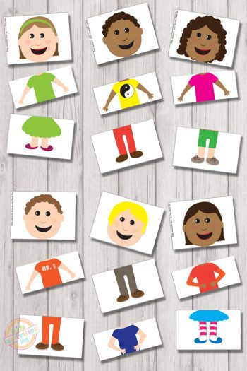 Mix and match puzzles with boy, girls, shirts, pants, and skirts.