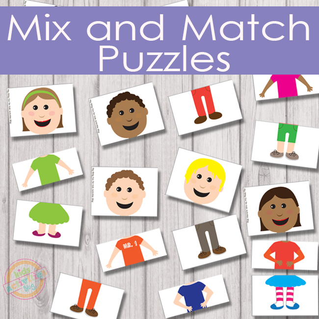 Mix and Match Puzzles that include boy and girls with shirts, pants, and colorful shirts.