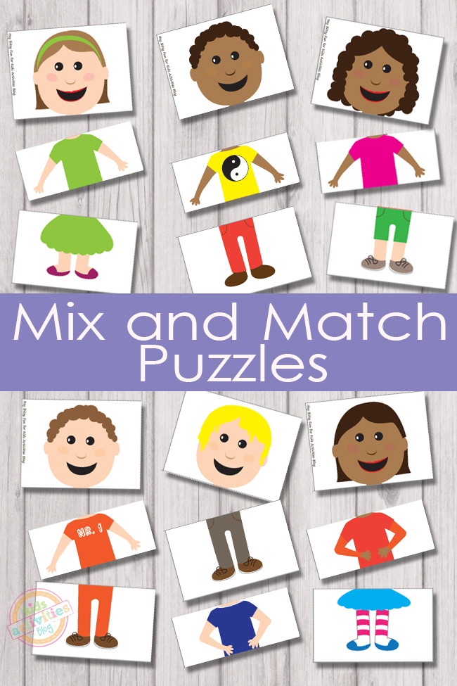Mix and Match Puzzles that include different races, clothes, and colors.