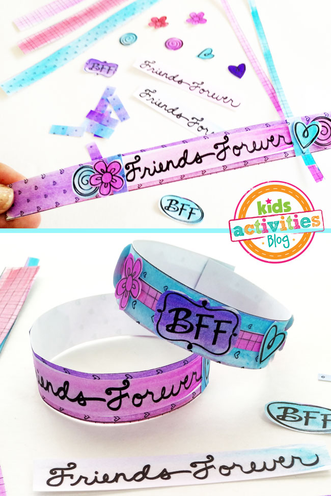 BFF Bracelets Printable - steps 3 & 4 - coloring paper bracelet patters and cutting them out with embellishments - shown are step examples