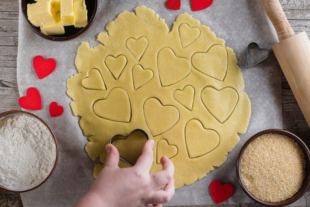 25 Valentine's Day Treats for Kids & the Whole Family - making heart shaped cookies with kids
