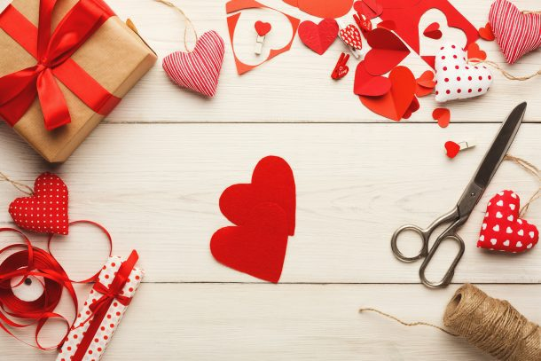 25 Valentine's Day Crafts & Activities for kids of all ages - homemade valentines - shown are the supplies to make felt and paper hearts