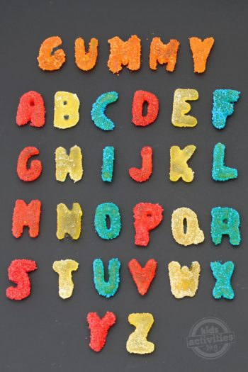 homemade sour gummy alphabet