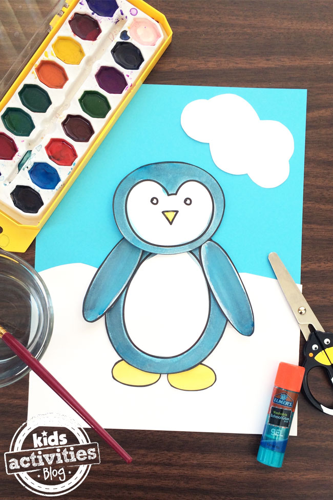 Penguin Coloring Page and Craft by Jen Goode