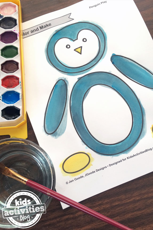 Paint the penguin coloring page or use crayons to color it