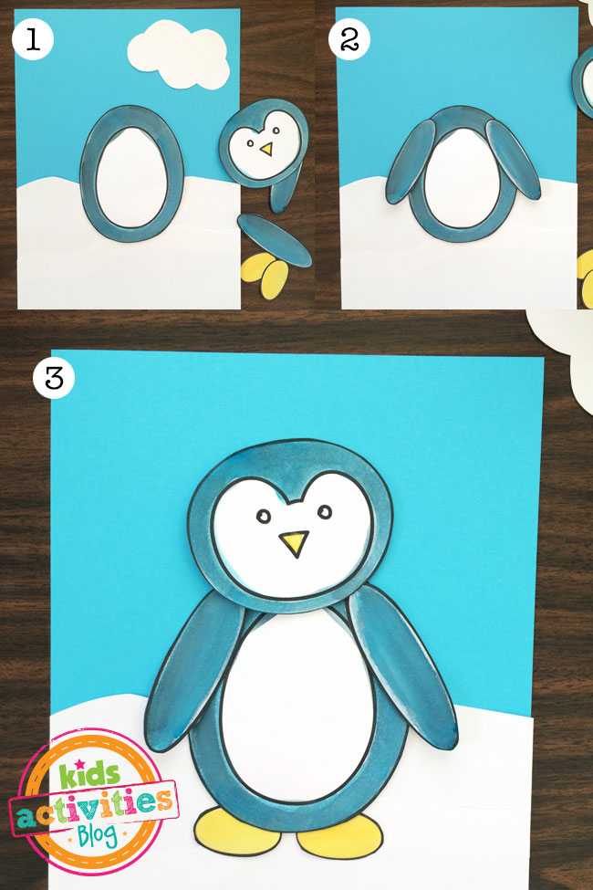 Cut out the pieces, layer them to design your penguin