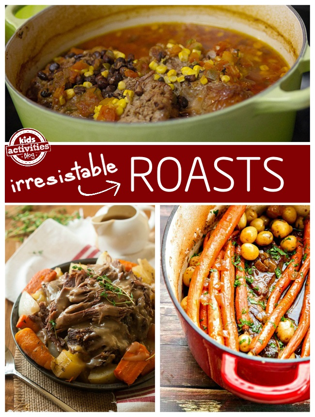 Irresistible roasts for kids that they will love. one has a south west flare with beans, tomatoes, and corn, the second is a classic roast with gravy, potatoes, and carrots, and the third is in a dutch oven with carrots, potatoes, and herbs and a broth.
