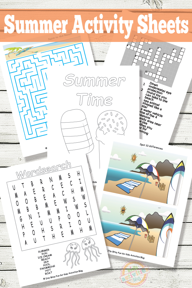 Summer Activity Sheets Free Printable