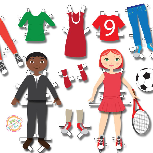 Dress up paper dolls and fancy outfits with sports gear