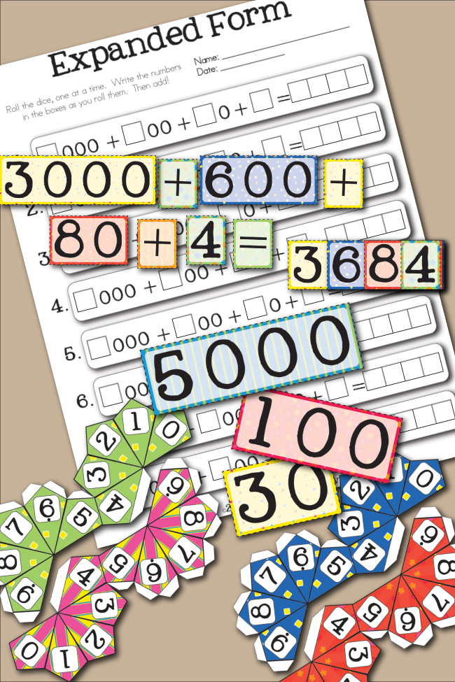 Free Printable Expanded Form Place Value Math Worksheet Game for Kids