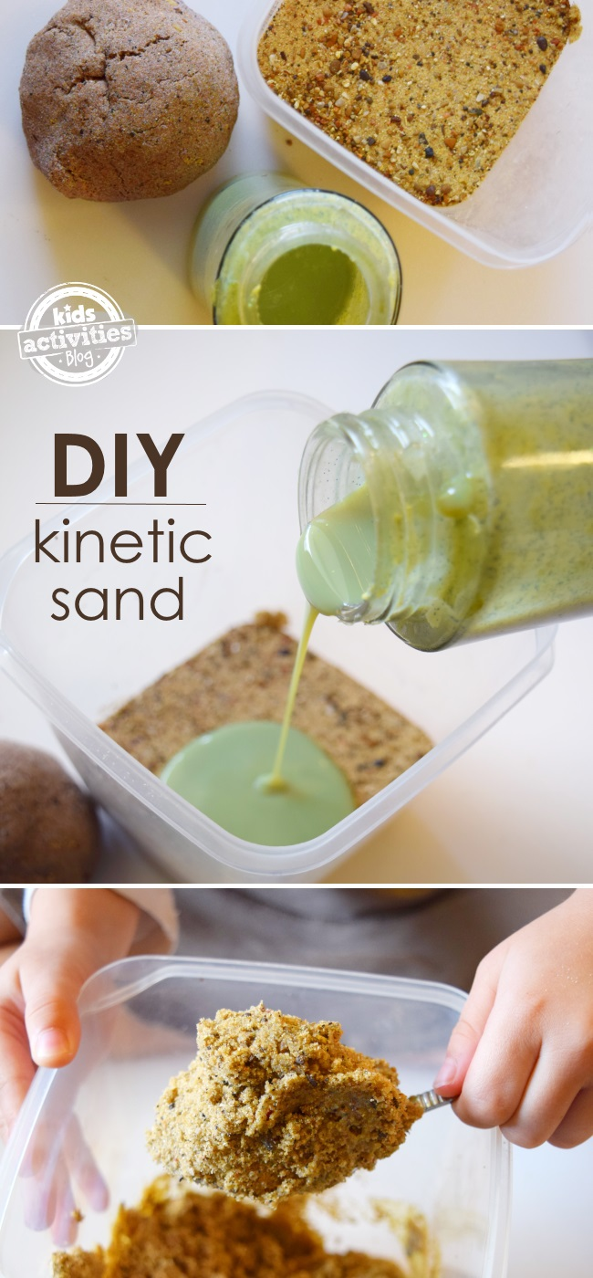 DIY Kinetic sand - how to make kinetic sand by adding slime in a bin and adding green slime and stirring it.