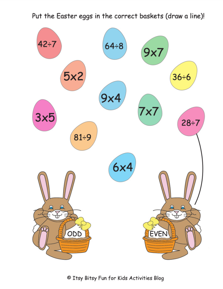 Easter Multiplication and Division Math Worksheet - Kids Activities Blog