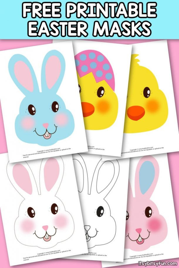 Easter Masks that look like Easter bunnies and Easter chicks