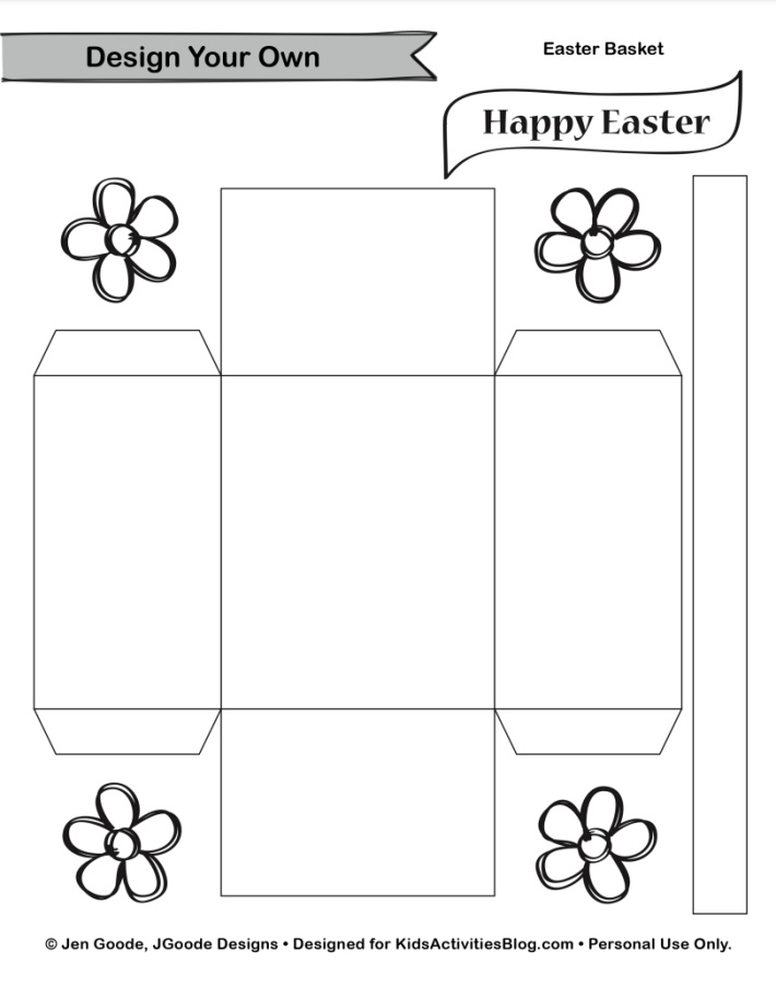 Small Easter Basket template pdf - Kids Activities Blog