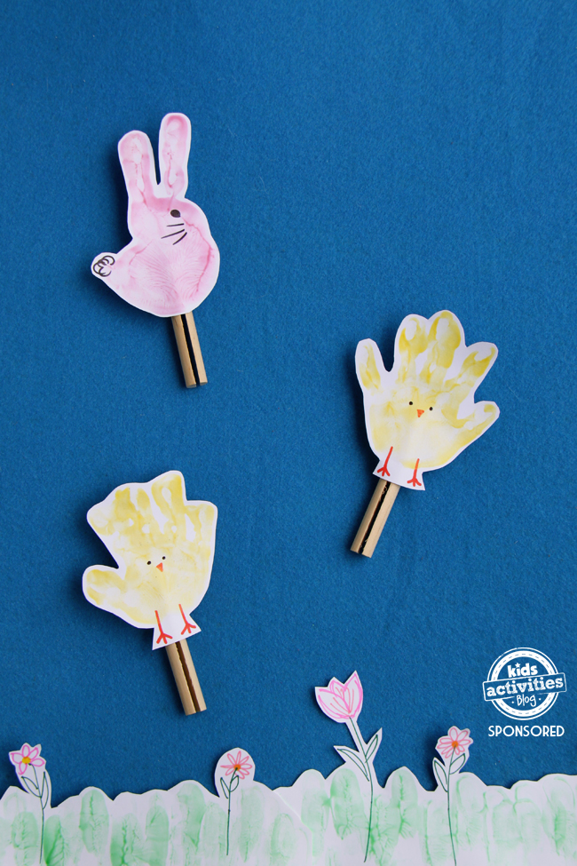 Easter Chick and Bunny Handprint Craft