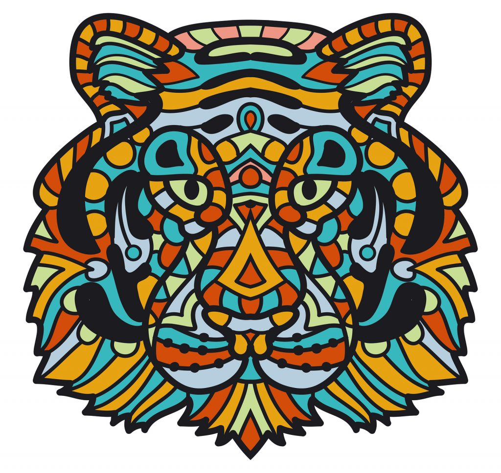 Colorful Tiger inspiration for jumbo coloring pages