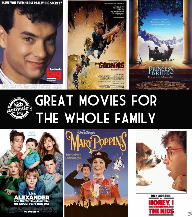 best family movies - non-animated films that are great for family movie night