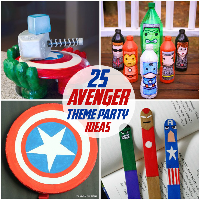 25 Avengers Party Ideas with hero cake, hero bowling, Captain America shield, and hero bookmarks.