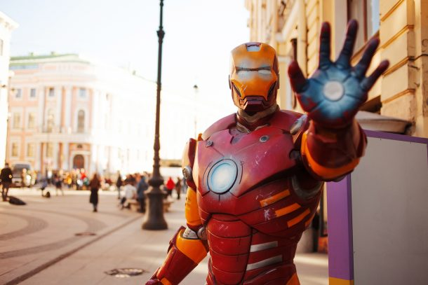 Iron man posing for avengers party