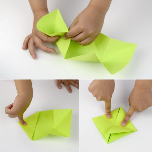 Fold the green frog until you have a folded square