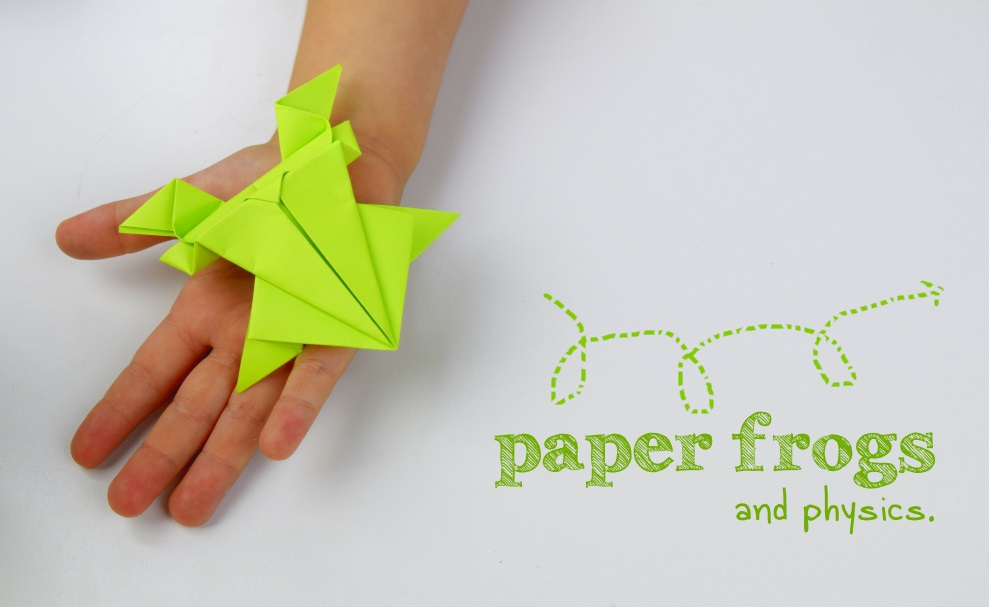 Origami paper frogs that teach children kinetic energy.