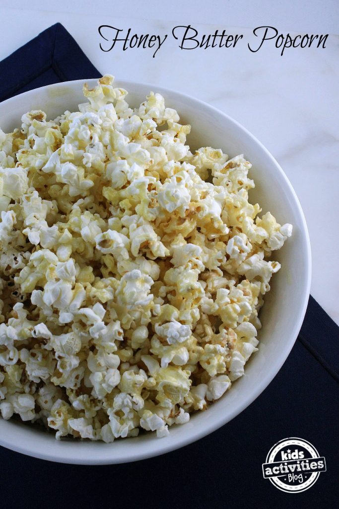 honey butter popcorn in a bowl, sweet, salty, and butter.
