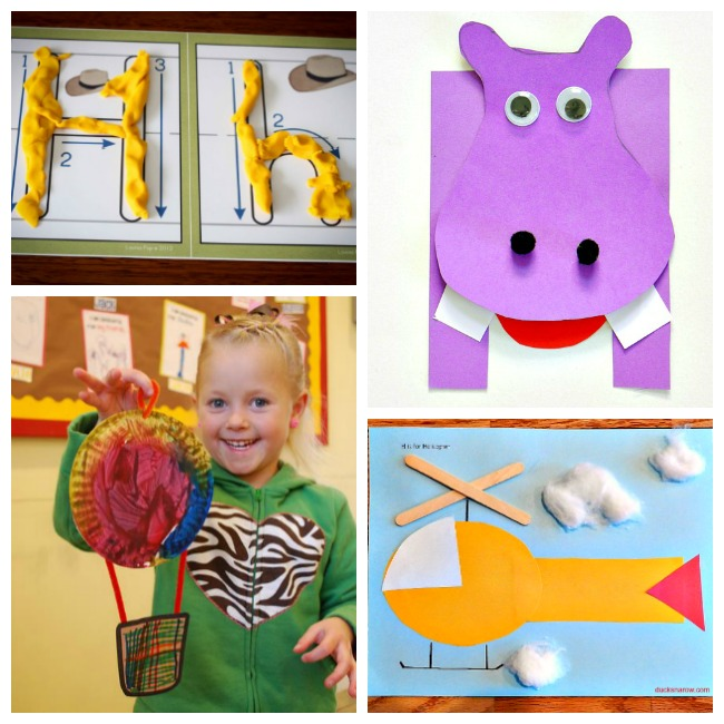 12 Letter H Activities- letter H playdough mat with yellow playdough, purple hippo craft, orange helicopter craft with cotton ball clouds, a red, yellow, and blue hot air balloon craft held by a little girl in a green hoody with a zebra striped heart in the middle.