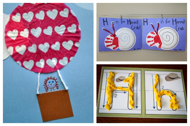 12 Letter H Activities- cupcake liner hot air balloon craft with red and white cupcake liner with hearts, handprint snail craft on purple paper, and playdough mats with yellow playdough with uppercase and lower case h's