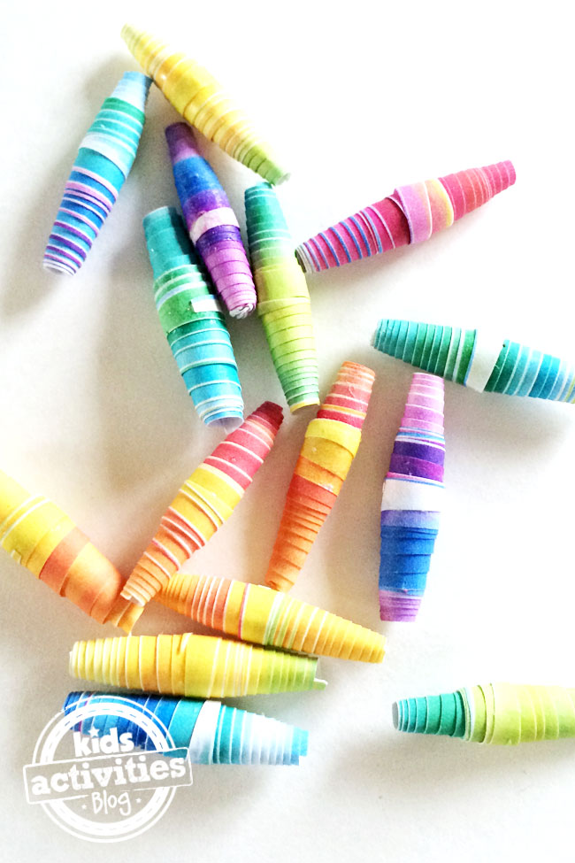 A whole pile of rainbow paper beads