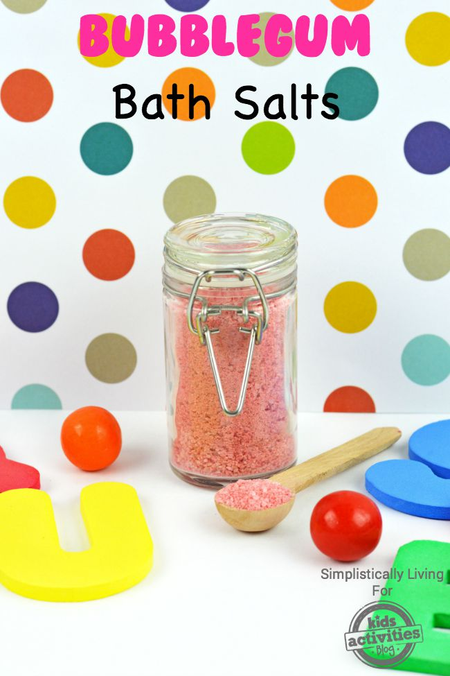 Bubblegum Bath Salts is the perfect epsom salt bath for toddlers with the letter toys and plastic balls.
