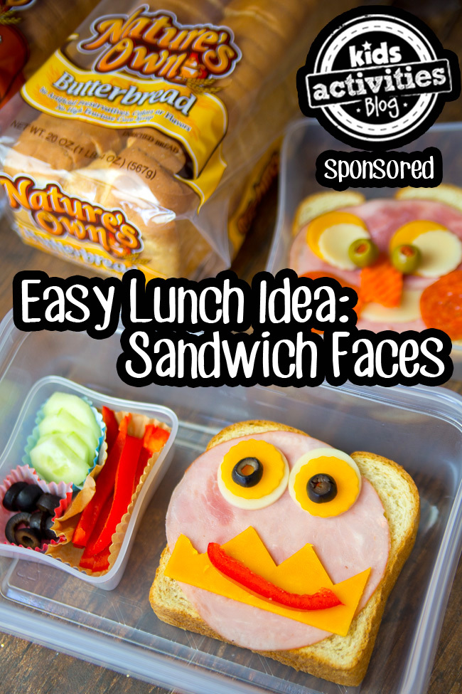 Easy Lunch Idea Sandwich Faces