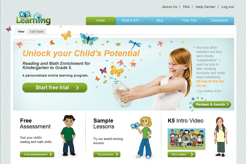 k5 home page screenshot