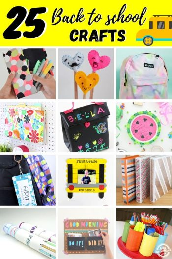 collage of back to school crafts