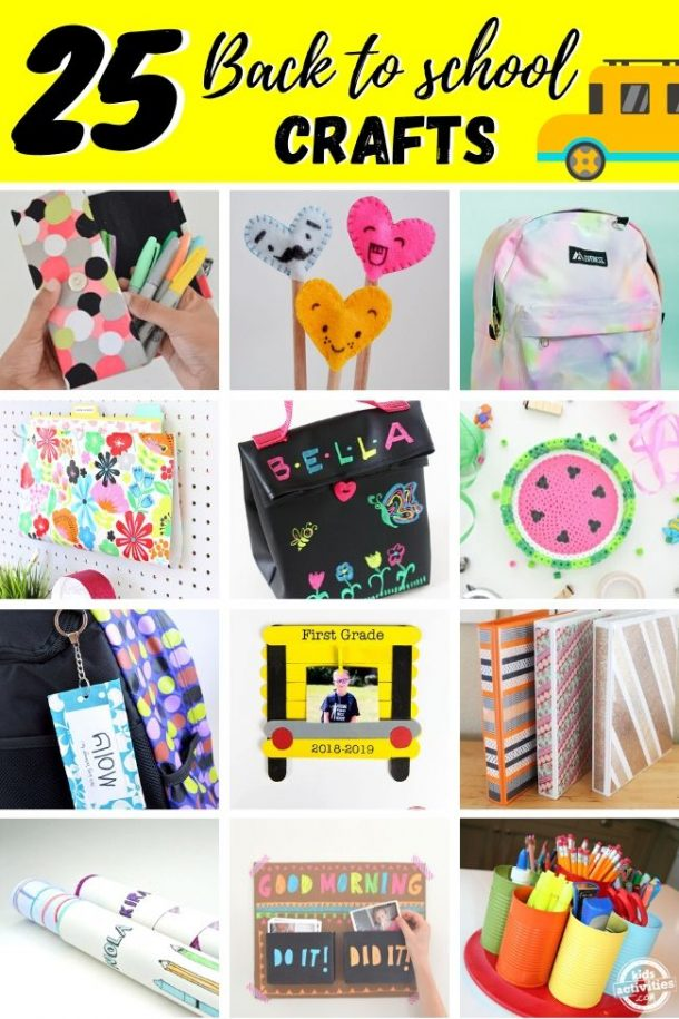25 back to school crafts that includes: a marker pouch, pencil toppers that are hearts with faces (pink blue and orange), a tie dye backpack that is pink purple and green and yellow. There is a paper holder that is floral, a black lunch box decorated with yellow blue and pink flowers and a yellow bee and a green pink purple and yellow butterfly that says bella at the top. A beaded keychain that looks like a watermelon. A name tag keychain for the backpack that says molly and is blue and white. A first grade picture of a boy in a picture frame that looks like a school bus. Decorated bingers with washi tape. Supply holder made from cans.